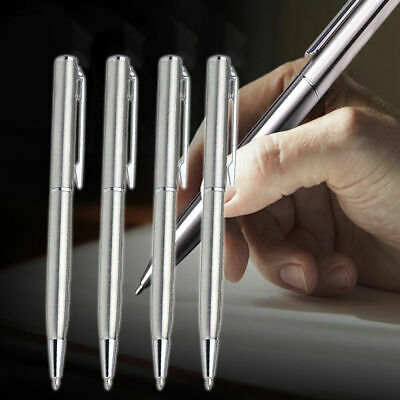 Students Stainless Steel Ball-point Pen Short Spin Office Supplies School T J7U3