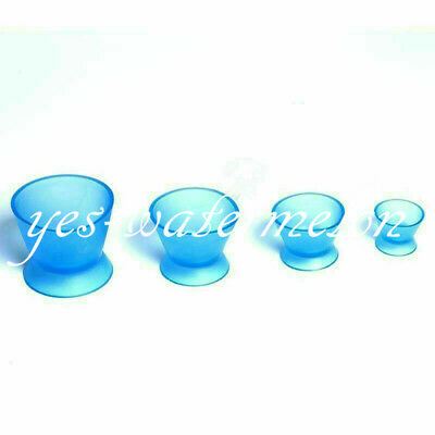 4 Pc Dental Lab Rubber Silicone Mixing Bowl Cup Mixing Acrylics Bowl Blue Color