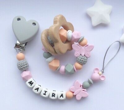 Personalised Dummy Clip And Teether Set -Pacifier Clip - Soother Clip - Unicorn