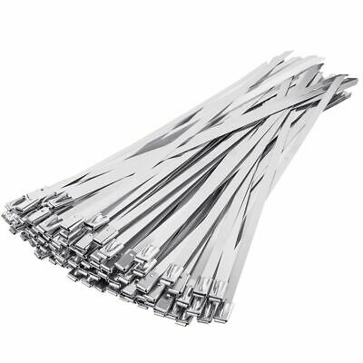 100 x 520mm x 4.6mm Stainless Steel Cable Zip Tie Wraps Cable Straps Top Quality