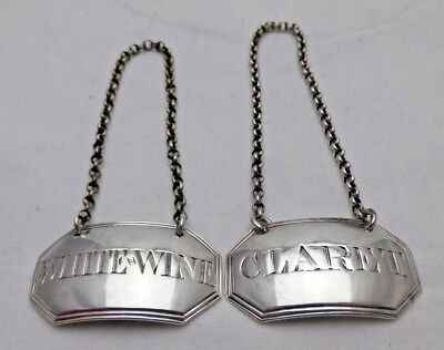Georgian Antique Solid Silver White Wine & Claret Wine Labels 1792 (1074-B-GWY)