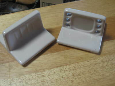 Vintage Ceramic Tile toothbursh and soap holder Set - Vintage bathroom fixtures