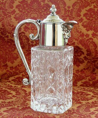 Vintage Silver plate & glass wine decanter claret jug * Christmas table drinks