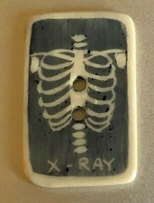 Vintage  Handpainted ceramic button Idabelle, X-Ray of Skelton, large 1 7/16""