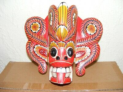 Wooden Barong Wall Mask Hand Carved Decorative Ornamental Display