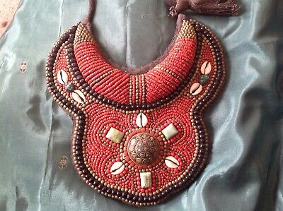 Antique Nepalese Beaded Collar Breastplate. Coral,Turquoise and Cowry Shells