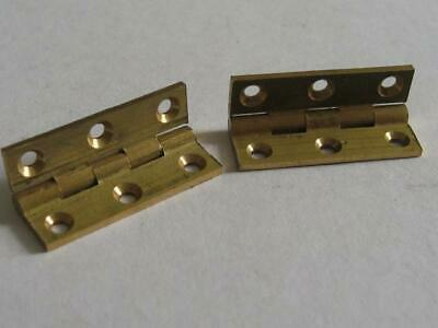 """Pair vintage quality solid brass butt hinges  1 1/4"""" x 3/4""""  jewellery boxes"""