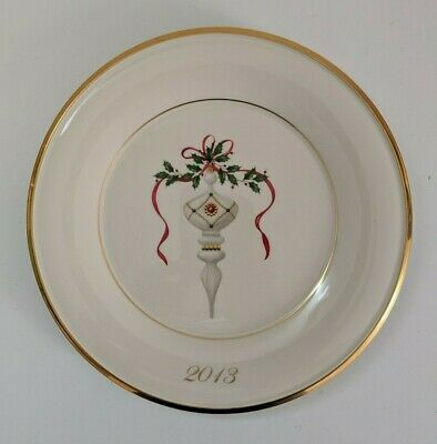 """Lenox Annual Christmas Holiday Accent Plate Gold Trim 2013 9 3/8"""" 839999 C801-K"""