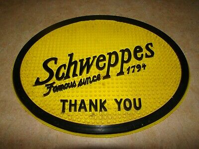 Vintage Rare Yellow Schweppes Advertisment Rubber Sign Famous Since 1794