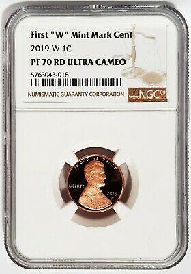 "2019 W 1C PROOF First ""W"" Mint Mark Cent NGC PF70 RD Ultra Cameo = BROWN LABEL ="