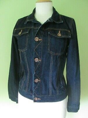 Next dark indigo blue copper button classic denim jacket S 8 or age 12 yrs girls