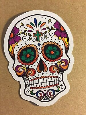 2 x 15cm Sugar Skull Vinyl Sticker Decal Mexican Spanish Day of the Dead #9328