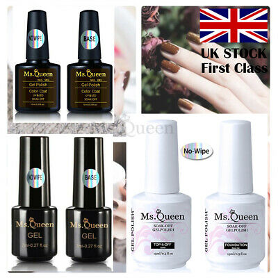 MS.QUEEN 7/ 10ML No Wipe Top Base Coat for soak off UV LED Gel Nail Polish