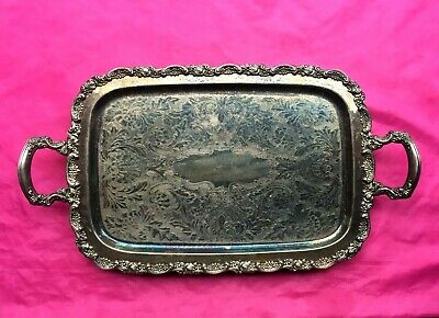 Antique Vintage Large Silverplate  Claw Feet Ornate Serving Tray w/ Handles