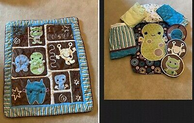 Cocalo Baby Peek-A-Boo Monsters 9 Pc Crib Nursery Set bedding Changing Table,