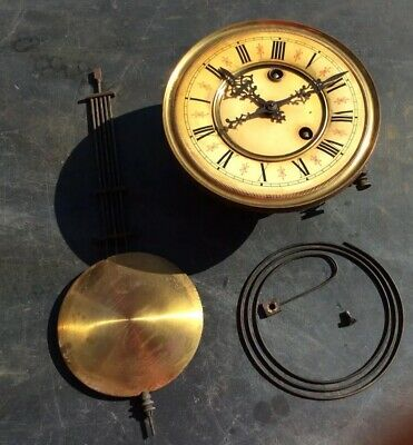 Antique Vienna Wall Clock Movement, Pendulum And Gong For Spare Parts Or Repair