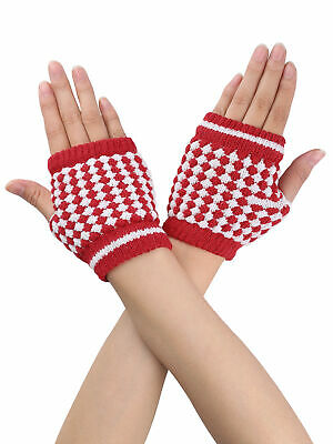 Women Gift Autumn Ribbed Knitted Hand Palm Warm Fingerless Gloves Red Pair