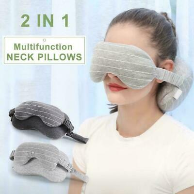 2 In 1 Travel Cosy Body Pillow Neck Grau Mit Augenmaske Tragbares Kissen B9D5