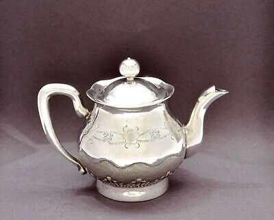 1930's Chinese Export Sterling Silver Tea Kettle Teapot with Flowers