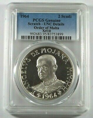 1964 Order Of Malta 2 Scudi X#10 Proof Silver Coin, Low Mintage Pcgs Verified.