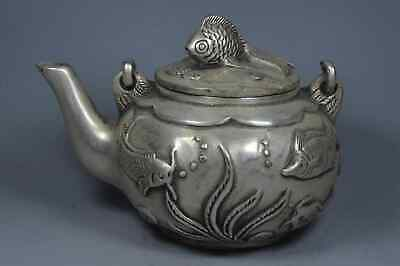 Ancient Handwork Collectable old Miao Silver Carve Goldfish Auspicious Tea Pot