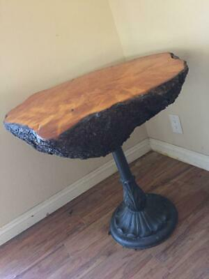 "Vintage Burr Walnut Tree (?) Trunk Slab Coffee Side Table 29"" x 29"" Austria Made"