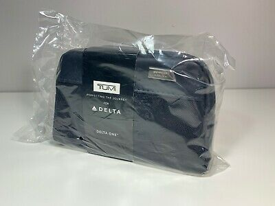 TUMI Delta One First Class Pouch Case Amenity Kit~SEALED~Business Travel NAVY