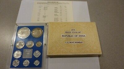 Scarce 1975 India 10 Coin Proof Set With Original Box And Certificate