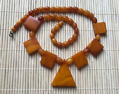 Old Genuine Natural Antique Baltic Vintage Amber jewelry stone Necklace Egg Yolk
