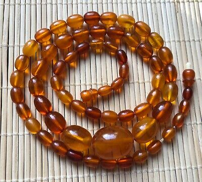Old Genuine Natural Antique Baltic Vintage Amber jewelry stone Necklace Honey