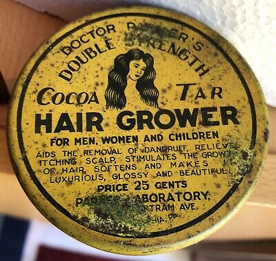 Dr. Parker's Cocoa Tar Quack Hair Grower Vintage Tin