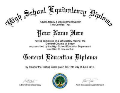Electronic PDF & JPG- Replacement for GED / High School Diploma