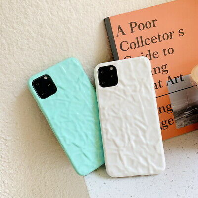 For iPhone 11 Pro Max Xs XR X 7 8 6s Plus 3D Pleated Solid Color Soft Case Cover