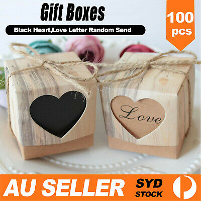 100pcs Kraft Paper Wedding Party Candy Gift Favor Boxes Vintage with String Rope