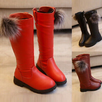 Toddler Infant Kids Girls Baby Princess High Top Shoes Winter Leather Long Boots
