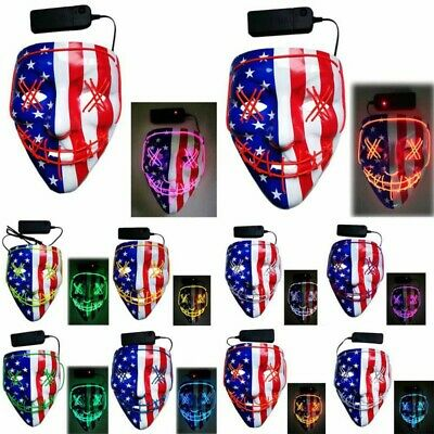 American flag Halloween LED Glow Mask EL Wire Light Up The Purge Movie Costume
