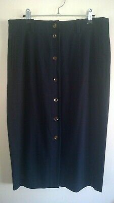 Vintage COUNTRY ROAD Navy 'Button Front' Midi / Long Skirt, Size M - L
