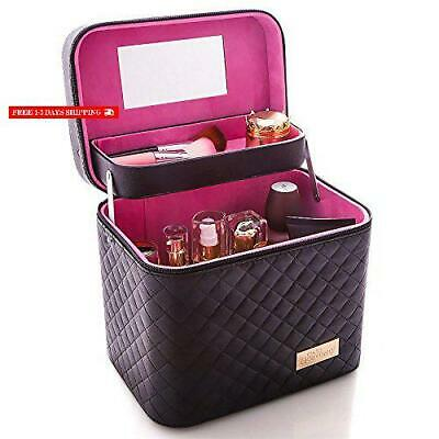 Sooyee Professional Makeup Train Case With Mirror - Cosmetic Studio Box Designed