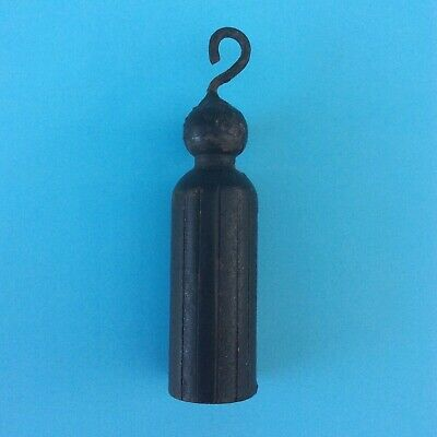Vintage Small Cast Iron Weight & Hook Black with Ridges Metal Restoration Parts