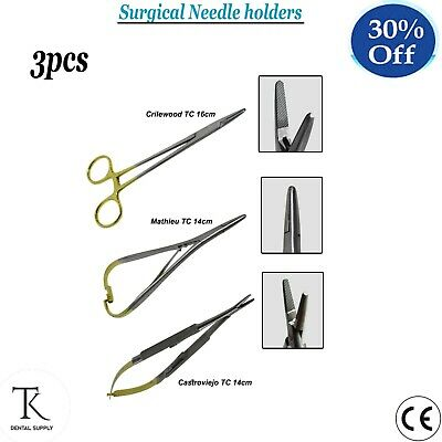 Dental Instruments Surgical Needle Holders Suturing Surgery Forceps Set Of 3