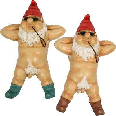 Rude Funny Garden Gnomes Naughty Male Gnome Statue Nude Novelty Gift Sunbaking