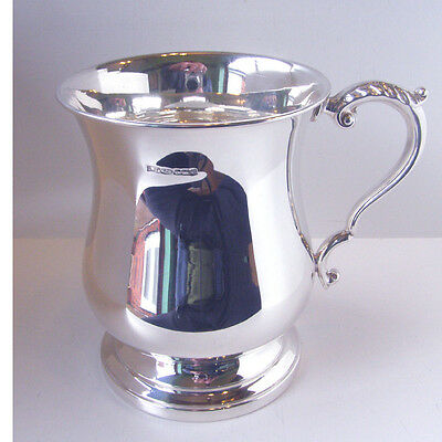 Silver Plated Tankard.  Brand New Silver Plated One Pint Georgian Tankard