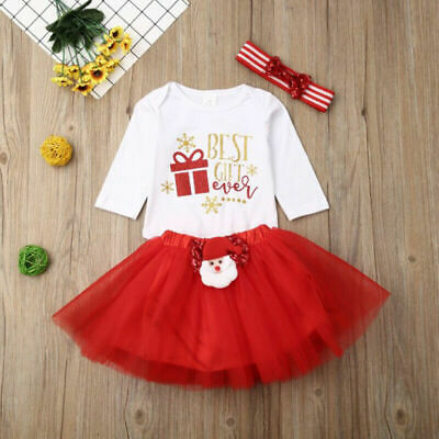 Christmas Newborn Baby Girls Santa Romper Tops Tutu Dress Headband Party Outfits