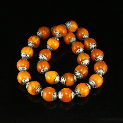 Tibetan Silver Inlay Amber Beads Necklace
