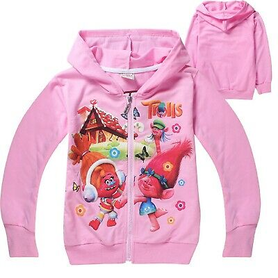 Girl's Light Pink Zip Up TROLLS Hoodie  - 100% Cotton - 4-10 yrs - FREE P&P NWT