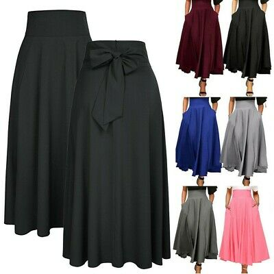 Womens High Waist Pleated A Line Long Skirt Front Slit Belted Party Maxi Dress F