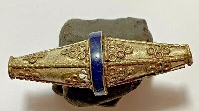 FANTASTIC MEDIEVAL SILVER BEAD WITH RARE LAPIS LAZULI stone 7.1gr 57mm