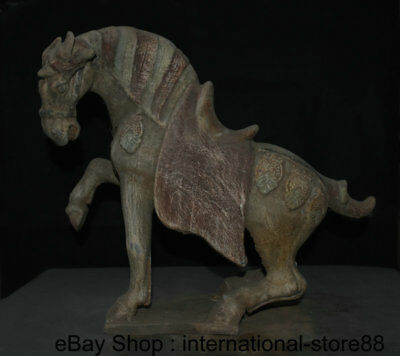 """16.4"""" Antique Chinese Ceramics Dynasty Palace Stand Tang Horse Steed Sculpture"""