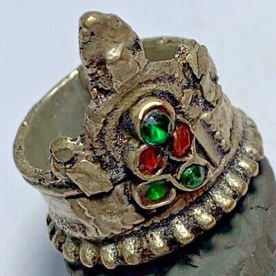 LATE MEDIEVAL SILVERED RING WITH RARE 5 STONES 14.6gr 26mm (inner 22mm)