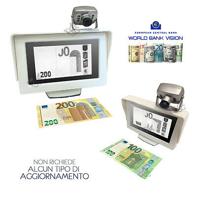 "Rivelatore Banconote False Verifica Soldi Falsi con Scanner IR Monitor 4"" Bianco"